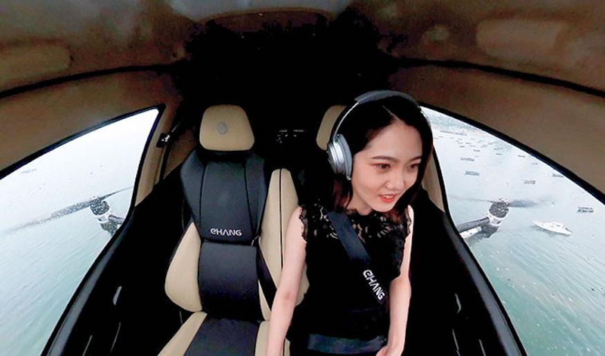 億航「空中的士」完成山東首個載人飛行演示 乘客:還想再坐一次