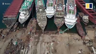 航拍看:土耳其港口泊滿豪華郵輪 疫情下慘被拆成廢鐵變賣