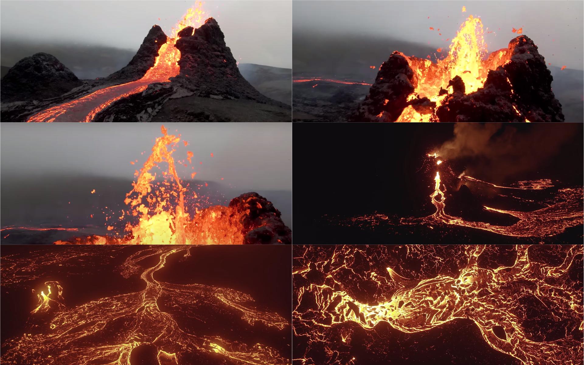 震撼! 空拍冰島火山噴發 極近距離捕捉火山口熔岩翻滾濺出