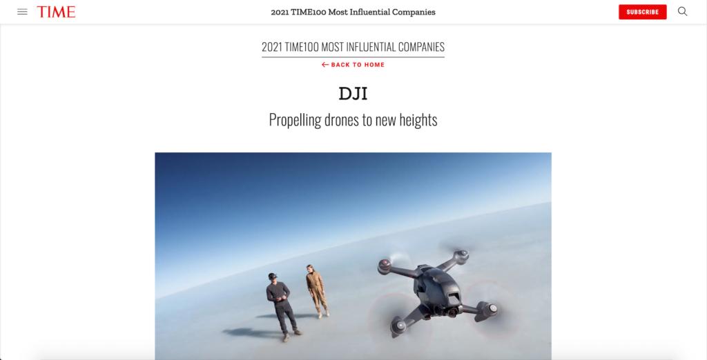 DJI 獲《時代》選為百大最具影響力企業 名單內上榜的還有⋯⋯