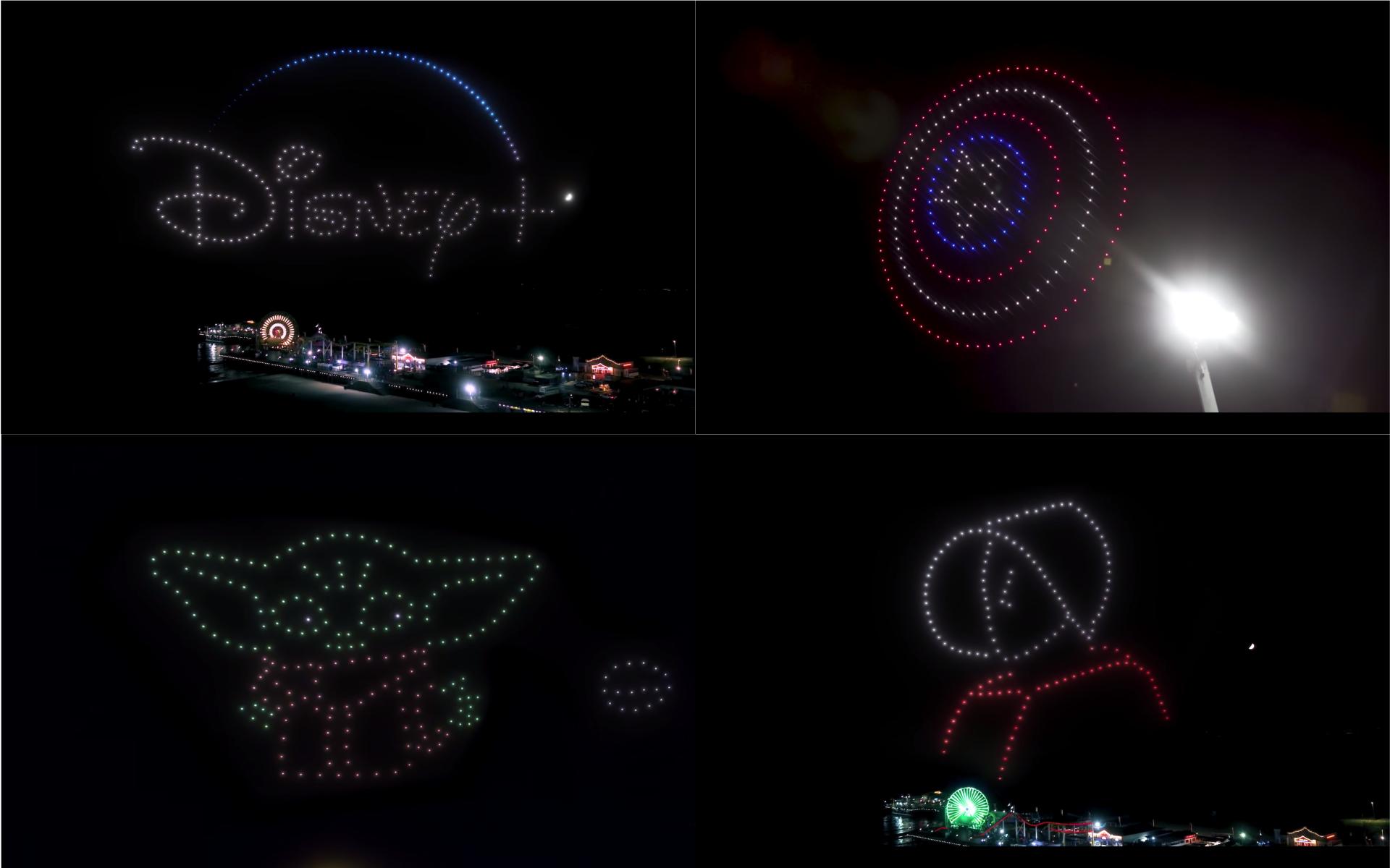 Disney+ 以無人機燈光秀慶全國串流日 尤達寶寶現身聖莫尼卡夜空