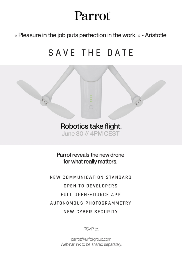 Parrot 預告 6 月 30 日推出新產品 開源程式、自動攝影測量、升級網絡安全
