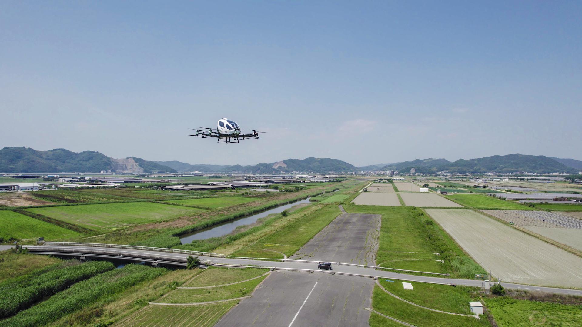 億航載人級無人機日本岡山首度空載試飛 眾議院議員:期待相關服務